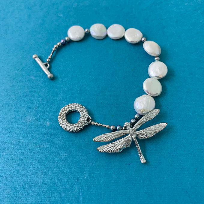 Dragonfly Coin Style Pearl Bracelet