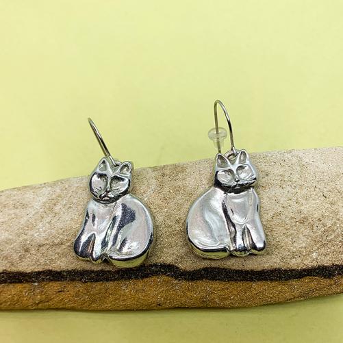 Cat Sitting, Wire Earrings