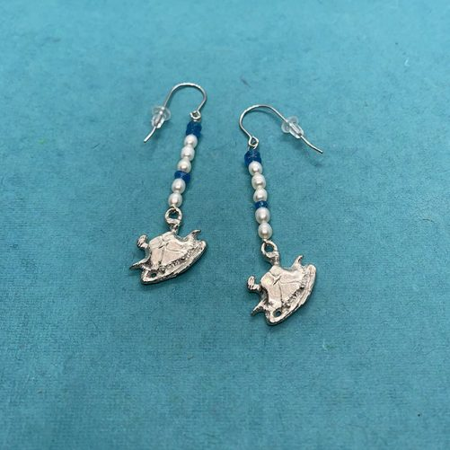 Crab Earrings with Apatite