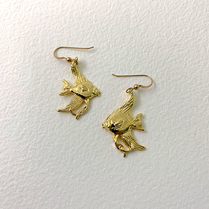 Angelfish Earrings, Gold