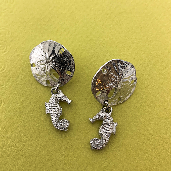 Sand Dollar and Seahorse Earrings Post