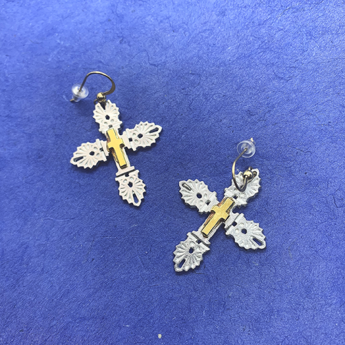 Anthemion Cross Earrings