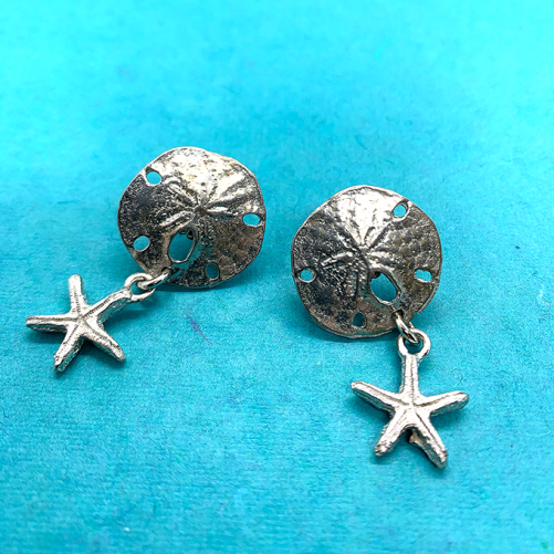 Sand Dollar w starfish earrings