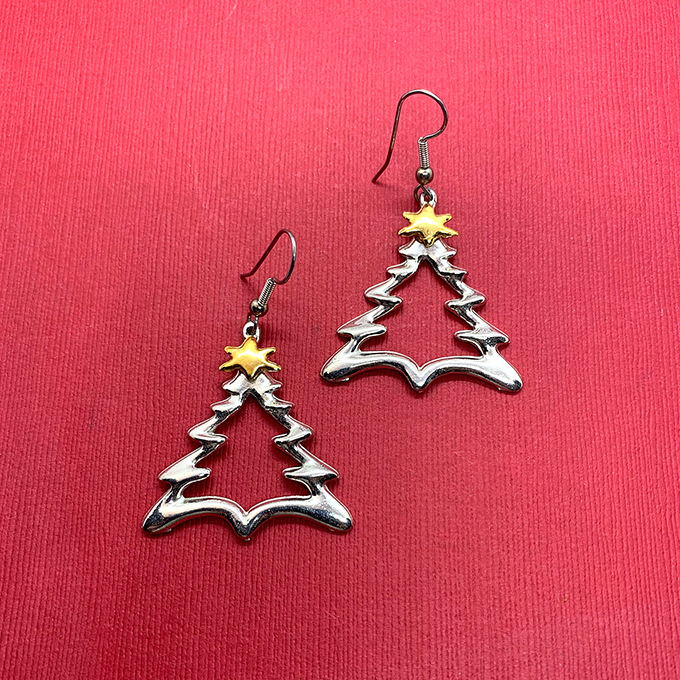 Zig Tree Earrings with gold star