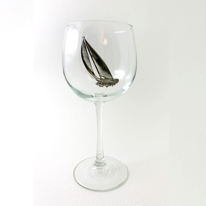 Racer Sailboat Red Wine Glass
