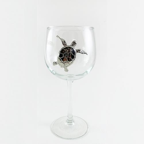 Red wine glass sea turtle