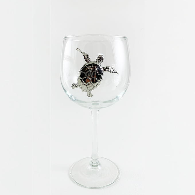 Red wine glass sea turtle