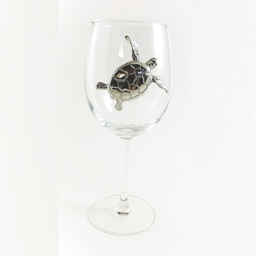 White wine Glass Sea Turtle