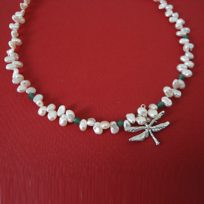 Dragonfly with crystal and pearl Necklace