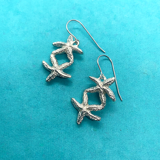 Starfish Duo Earrings, wire