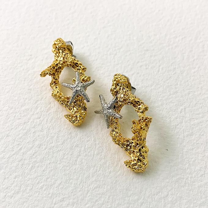Coral 2 Tone Earrings
