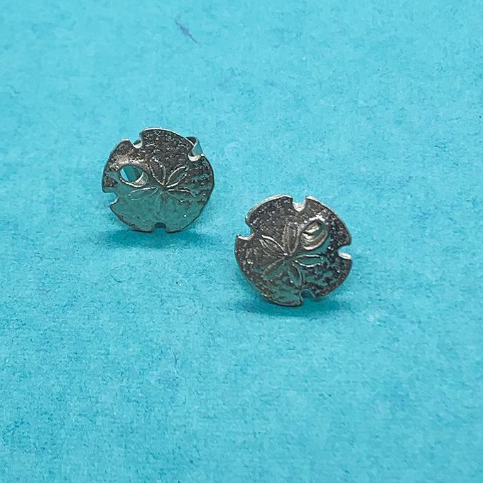 tiny sand dollar earrings