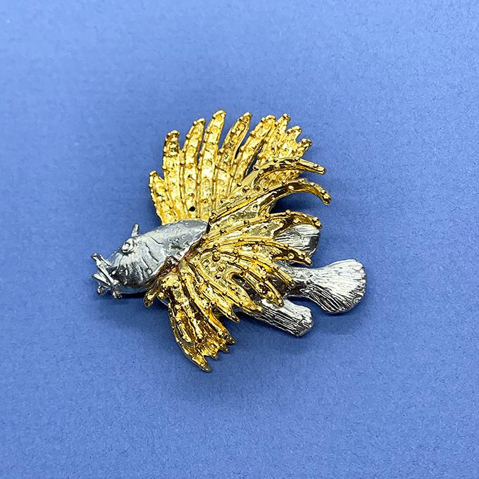 Lion fish 2 tone Pin/ Pendant